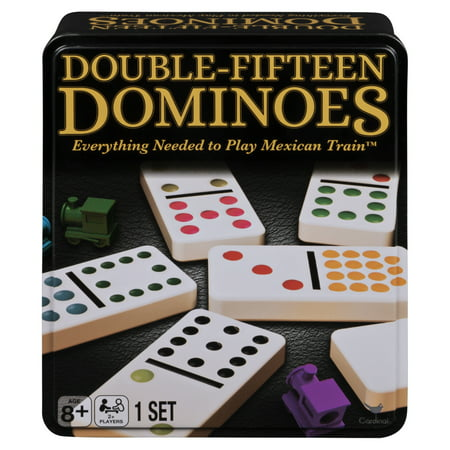 Double Fifteen Color Dot Dominoes Game in a Tin