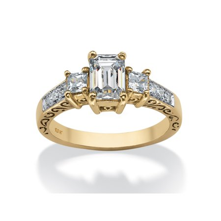 1.27 TCW Emerald-Cut Cubic Zirconia Scroll Ring in 10k Gold ()