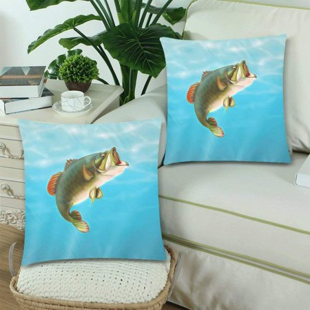 RYLABLUE Carp Fish Pillow Covers Pillow Cases Two Sides Printing 18x18 inches ,Set of 2 - image 2 of 2