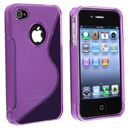 niceEshop(TM) TPU Rubber Skin CaseWalmartpatible With Apple iPhone 4, Clear Dark Purple S Shape, Custom made toWalmartfortably fit your iPhone 4 By Generic,USA (Purples Shape Tpu Rubber)