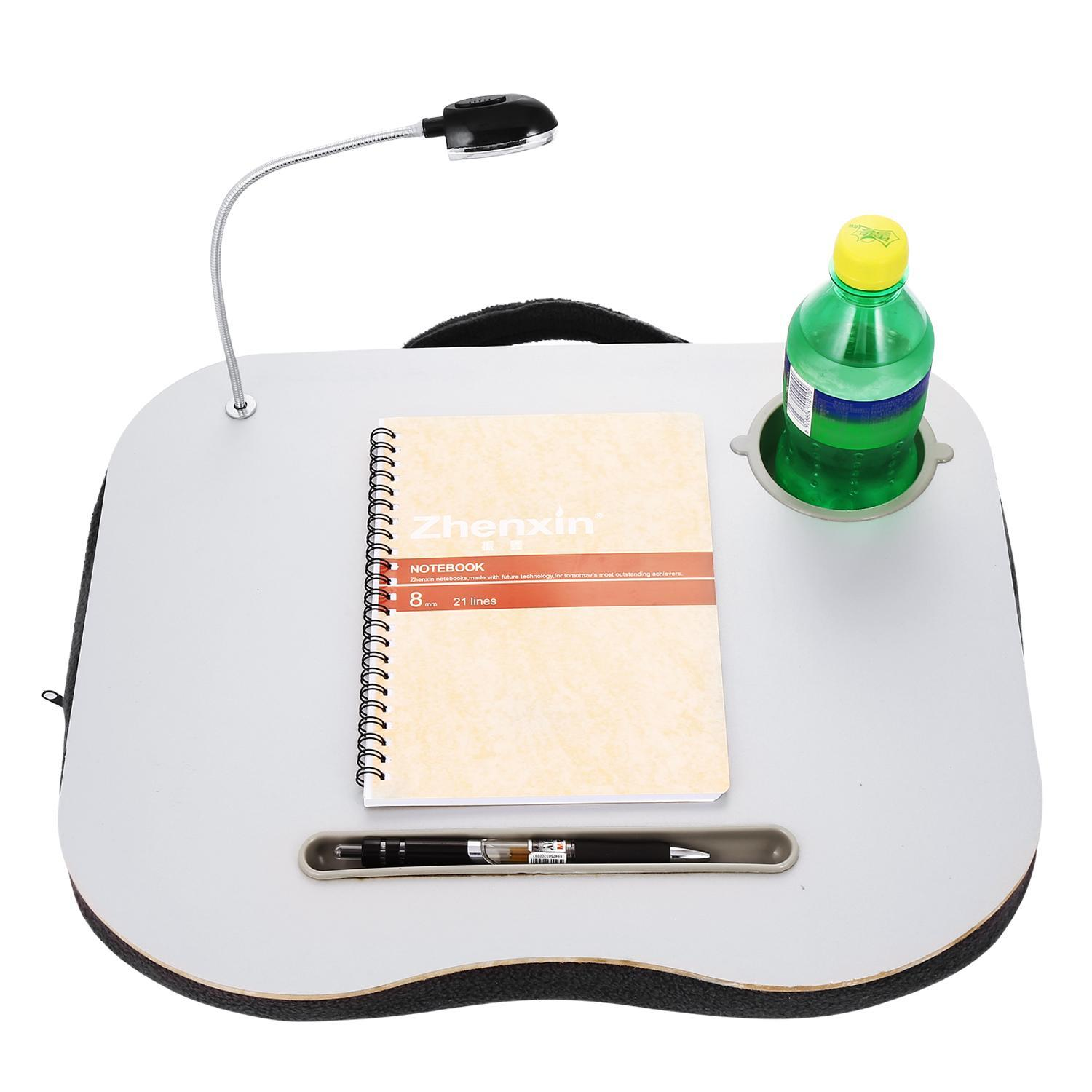 Portable Laptop Desk, With Foam Cushion LED Desk Light and Cup Holder for Bed&Lap SPTE