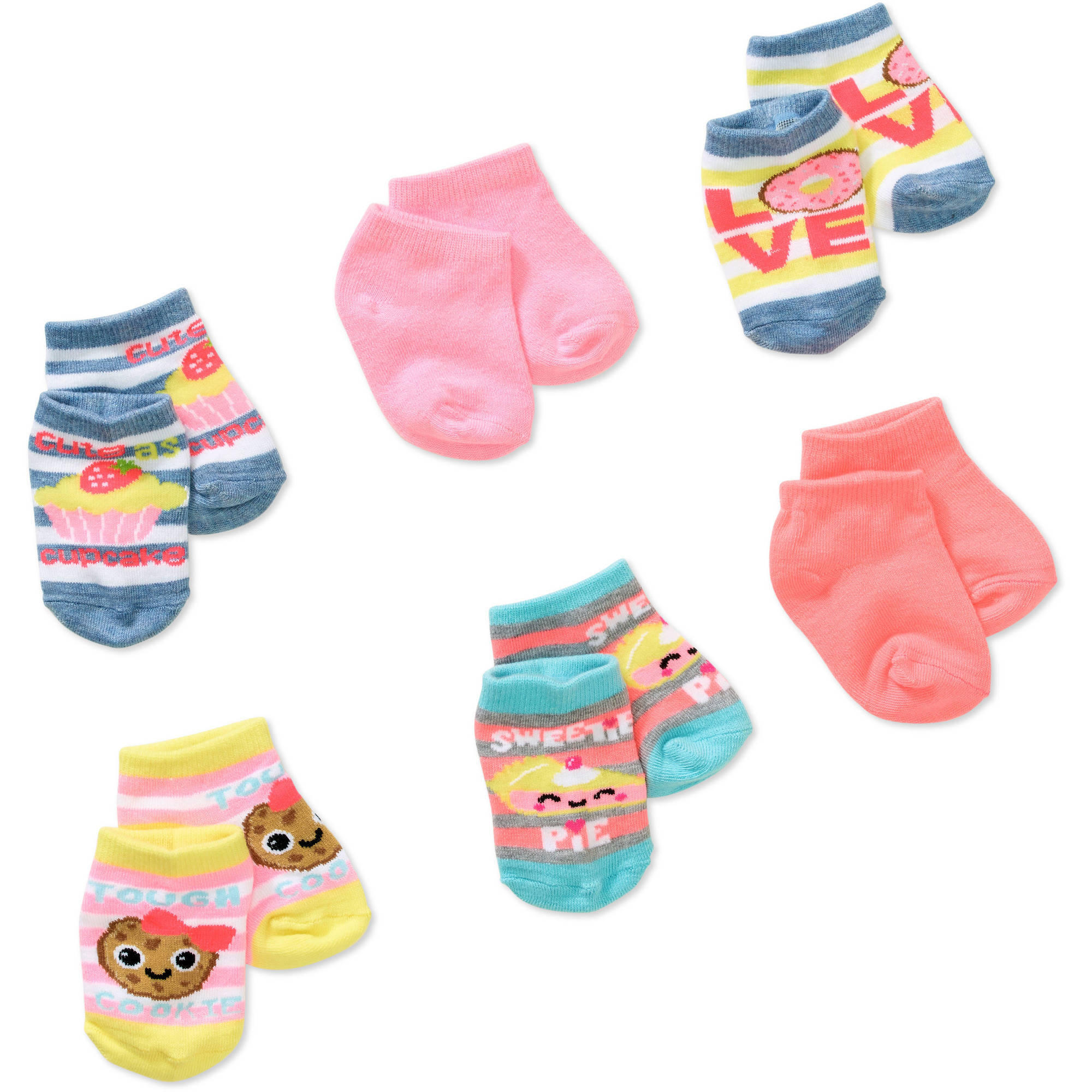 Garanimals Newborn to Toddler Baby Girls' Shorty Cupcake Print Socks, 6-Pack
