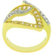 Sunrise Wholesale J3242 07 Two Tone 14k Gold and White Gold Rhodium Bonded Fashion Visible Luxury Ring