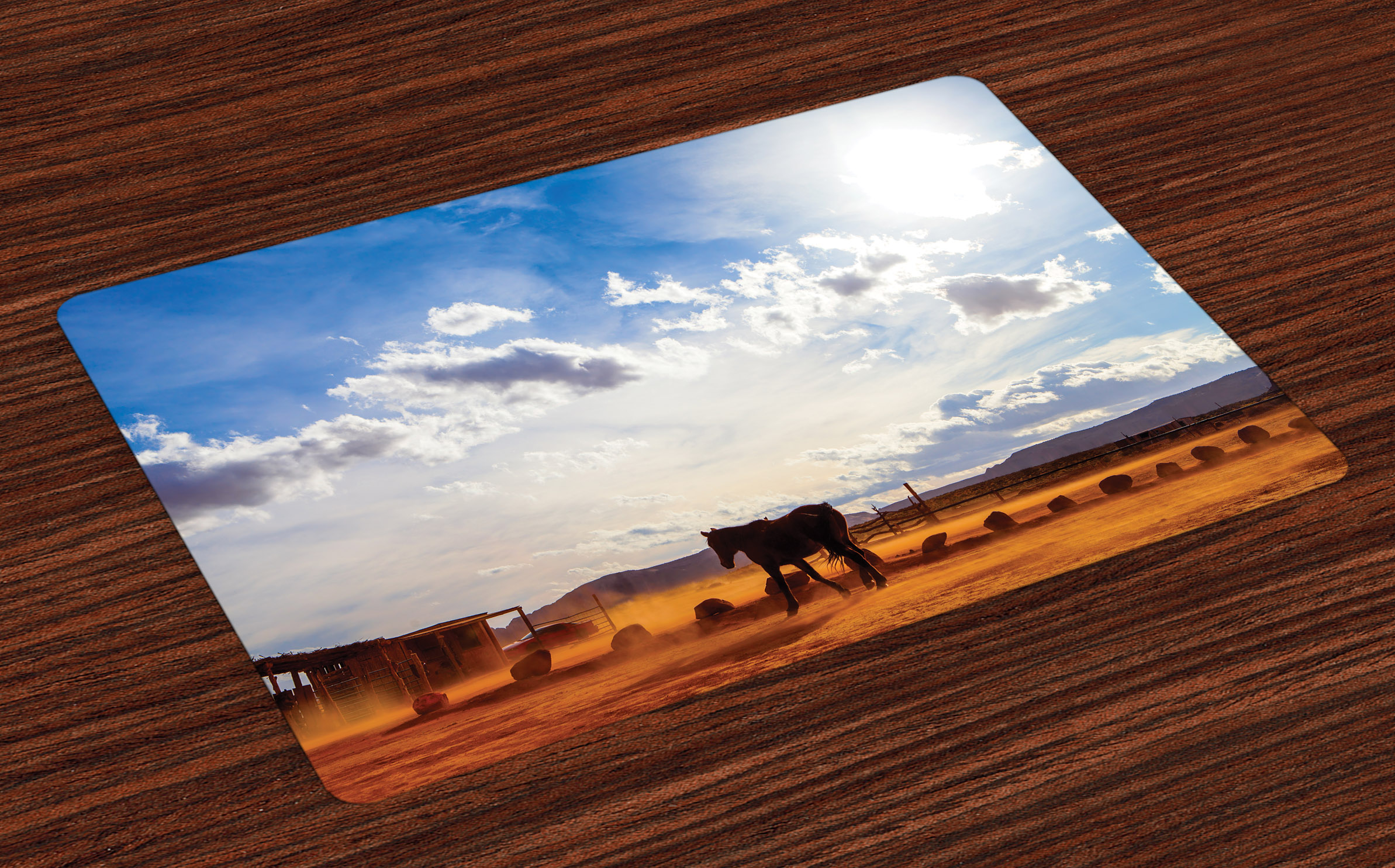 Western Placemats Set Of 4 Horse In Monument Valley Open