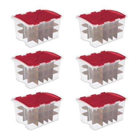 Sterilite 6 Pack 48 Quart Hinged Lid 270 Total Holiday Ornament Storage (Red Hinged Box)