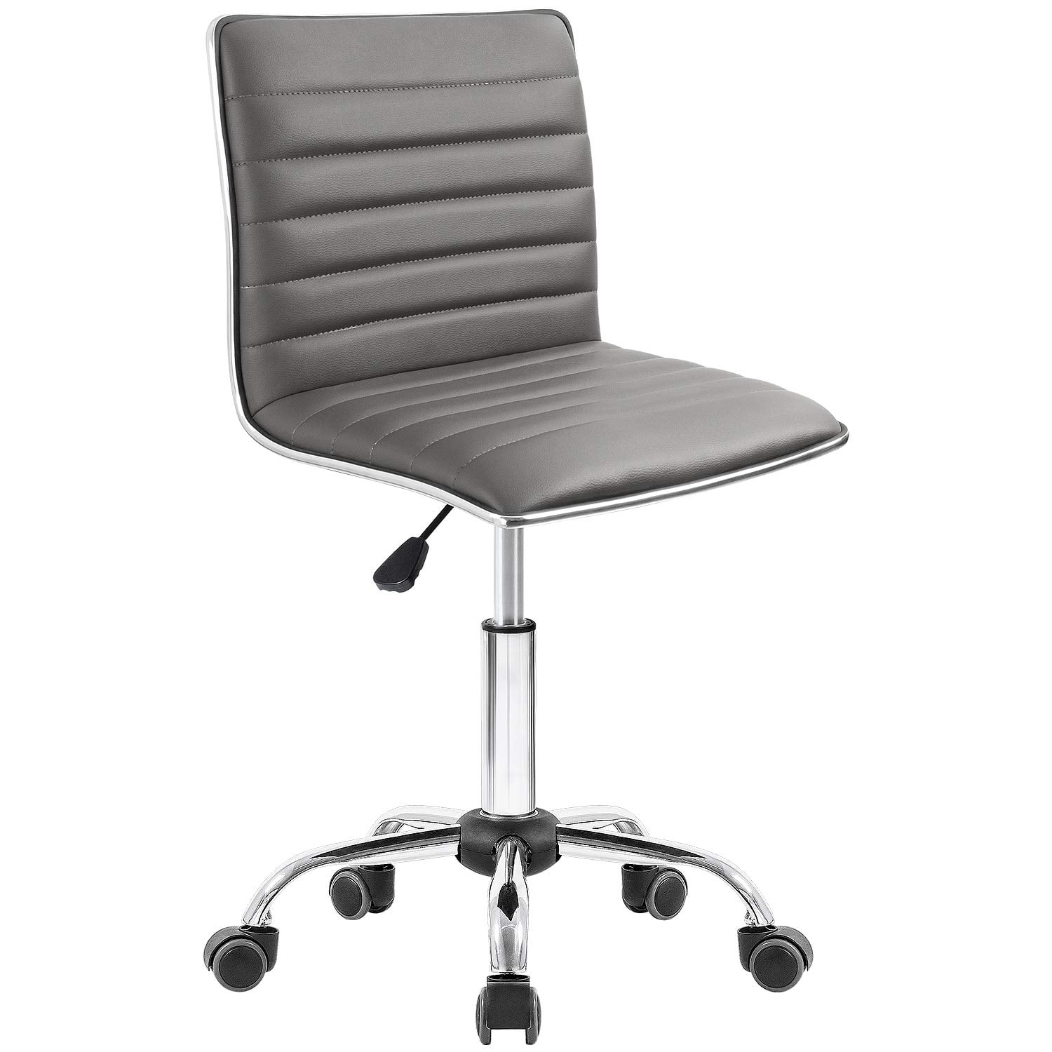 Walnew Task Chair Desk Chair Mid Back Armless Vanity Chair Swivel Office Rolling Leather Computer Chairs Ribbed Adjustable Conference Chair Gray Brickseek