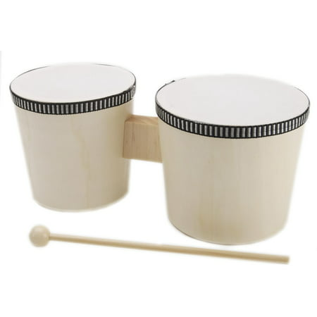 Nino Wood Bongos Natural (Instrument Wood Bongos With Sticks)