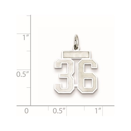 925 Sterling Silver Small Satin Number 36 - image 1 of 2