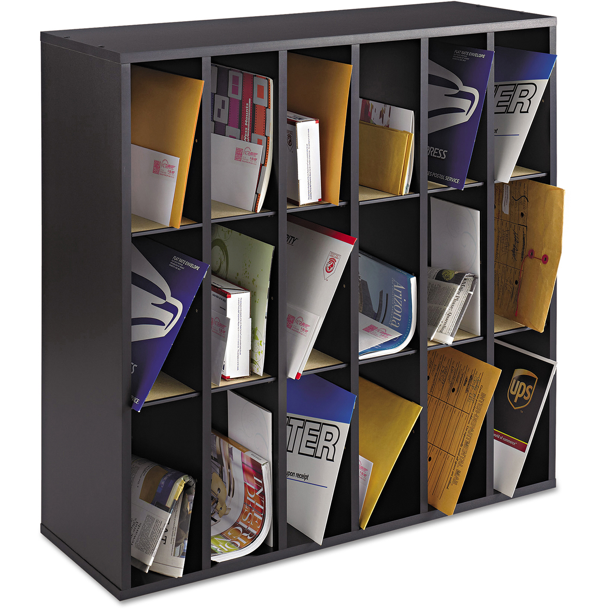 Safco Wood Mail Sorter with Adjustable Dividers, Stackable, 18 Compartments, Black
