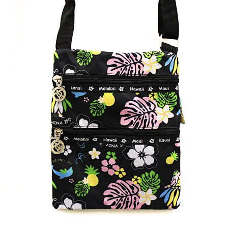 Hawaiian Print Light Weight Cross body Bag Passport Bag in Hula Girl Black