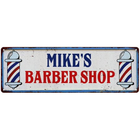 Mike S Barber Shop Hair Salon Personalized Metal Sign Retro 6x18 106180031346