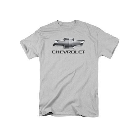 Chevrolet Automobiles Chevy Classic Bowtie Logo On Silver Adult T-Shirt - Adult Classic T-shirt Tee