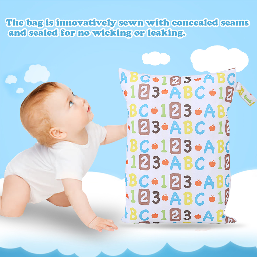 VGEBY Waterproof Zip Wet Dry Bag for Baby Infant Cloth Diaper Nappy Pouch Reusable,Diaper Bag, Wet Dry Bag