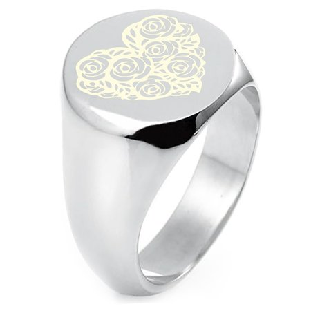 Sterling Silver Rose Petal Heart Engraved Round Flat Top Polished Ring