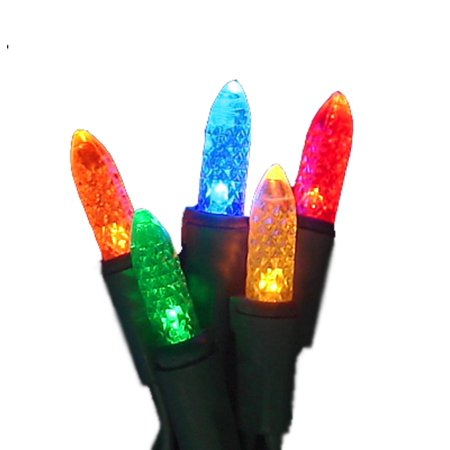 Set of 50 LED C3 Multi-Color Mini Christmas Lights - Green Wire - Set Of 50 LED C3 Multi-Color Mini Christmas Lights - Green Wire