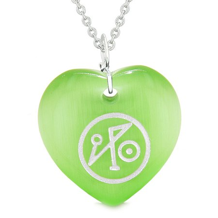 Archangel Michael Sigil Magic Planet Energy Amulet Puffy Heart Green Simulated Cats Eye 18 Inch Necklace