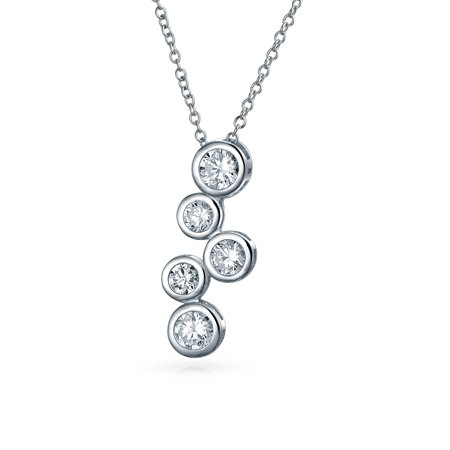 Zig Zag Bubble Round Bezel Set Cubic Zirconia CZ Pendant Necklace For Women Girlfriend 925  Sterling Silver](Bubble Necklace)