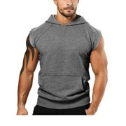 Men Summer Hooded Tank Tops Muscle Tee Hoodie Fitness Vest Sleeveless T-Shirt Fashion Bodybuilding Athletic Tank