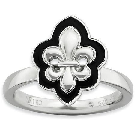 Sterling Silver Polished Enameled Fleur De Lis Ring Spinel Fleur De Lis