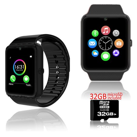Indigi  Black Gt8 Bluetooth 2In1 Smartwatch   Phone W  Pedometer   Sleep Monitor   Camera W  32Gb Microsd Included