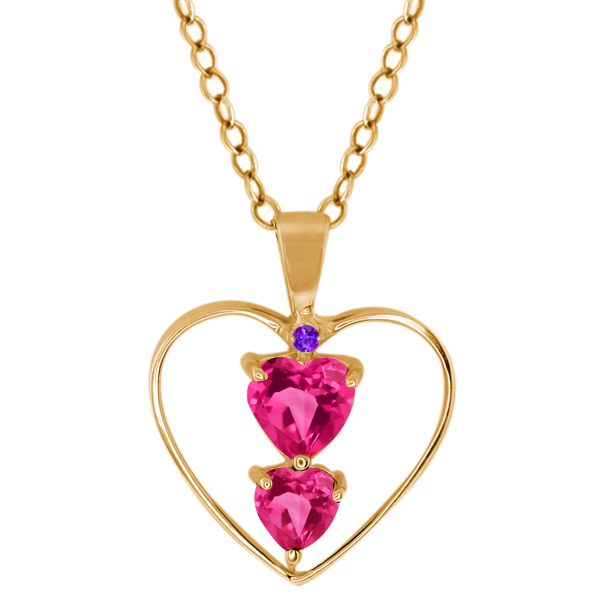 0.91 Ct Heart Shape Pink Mystic Topaz 14K Yellow Gold Pendant