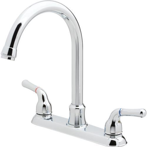 Aspen Pisa Gooseneck Kitchen Faucet Chrome Two Handle With Spray