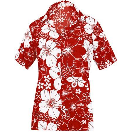 HAPPY BAY Women's Beach hawaiian button down blouse casual tank top aloha Shirt Red_X4](Hawaiian Suit)