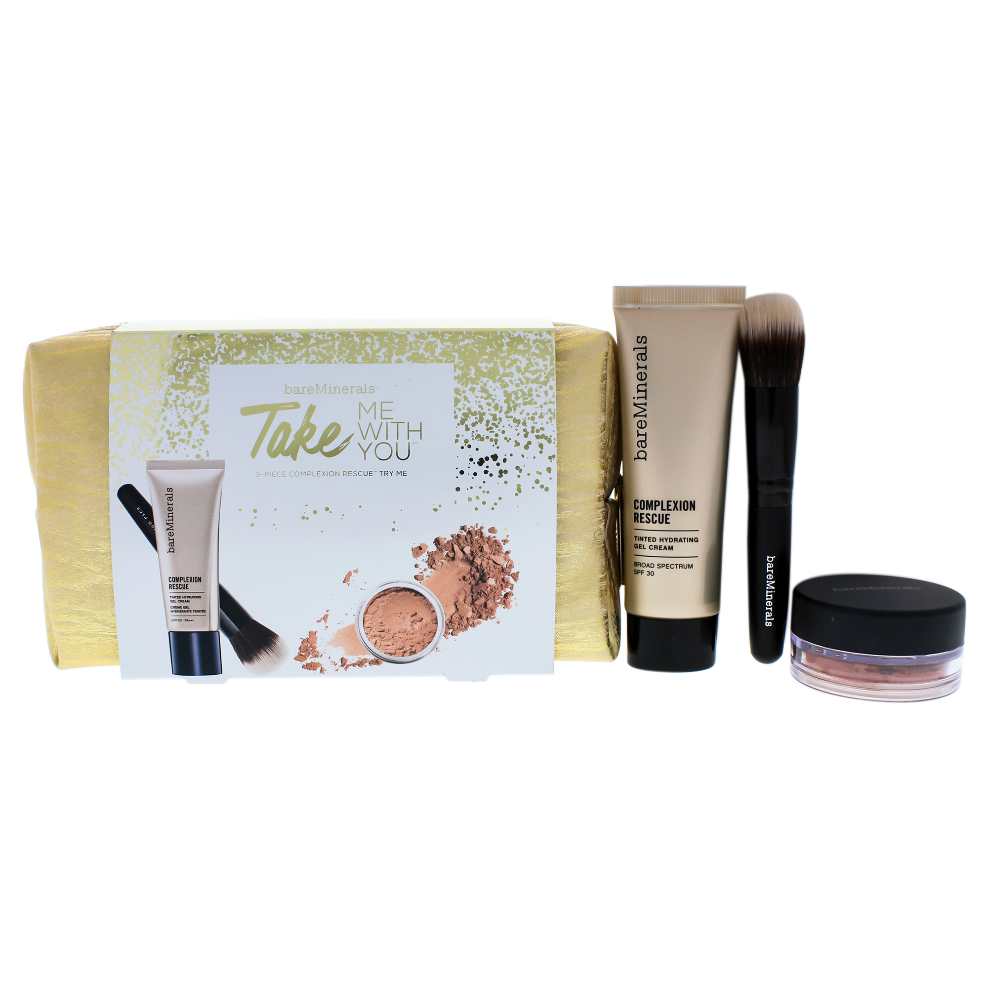 Take Me With You - 07 Tan by bareMinerals for Women - 4 Pc Set 0.03oz Blush - Golden Gate, 0.68oz Co
