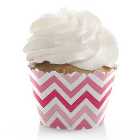 Chevron Pink - Baby, Bridal Shower or Birthday Party Cupcake Wrappers - Set of 12 for $<!---->