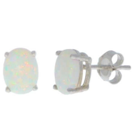 14Kt White Gold Genuine Opal Oval Stud Earrings - Gold Oval Opal Earrings