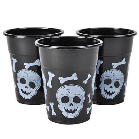 Rinco Halloween Skull Party Cups 12oz Plastic Cups, 6 CT, Black White](Halloween Party Foods Easy)