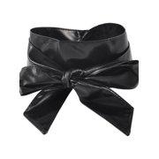 Women Self Tie Faux Leather Wide Obi Sash Waist Belt Wrap Band 2.2M