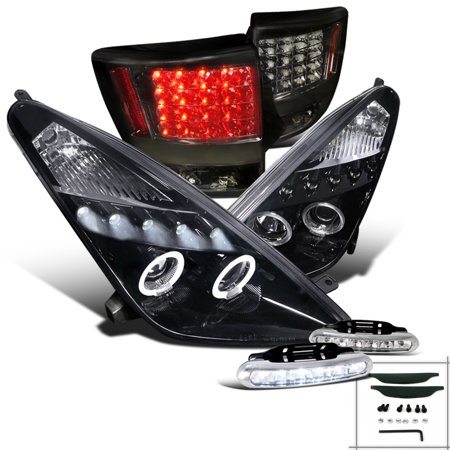 Spec-D Tuning For 2000-2005 Toyota Celica Halo Glossy Black Projector Headlights + Smoke Tail Lamps + Led Fog (Left + Right) 2000 2001 2002 2003 2004 - 2005 Toyota Celica Headlight