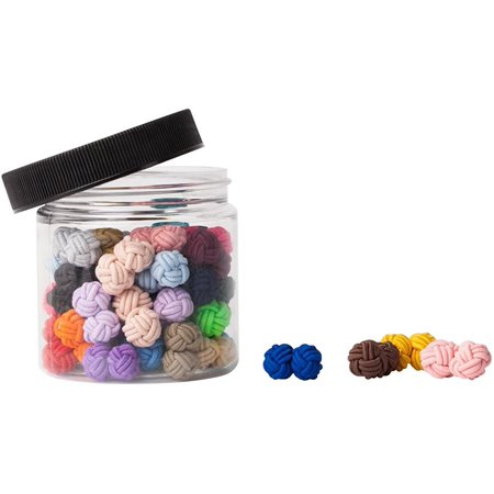 Jacob Alexander Gift Jar 25 Pairs Solid Color Silk Knot Cufflinks Bulk Collection Silk Knot Cufflinks