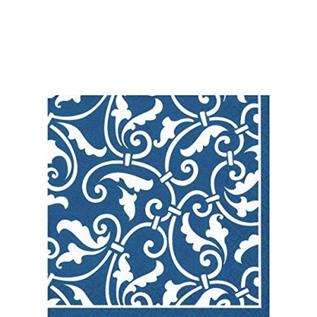 "Party Ready Ornamental Scroll Beverage Napkins Tableware, Royal Blue, Paper , 5"" x 5"", Pack of 16, Features royal blue and white color with an elegant.., By Amscan"