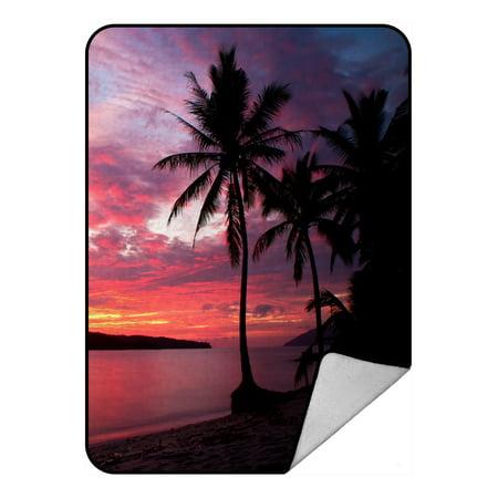 PHFZK Seascape Blanket, Sunset with Birds Palms at Rebak Island Langkawi Malay Fleece Blanket Crystal Velvet Front and Lambswool Sherpa Fleece Back Throw Blanket