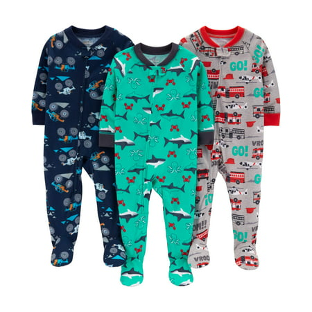 Long Sleeve Footed Pajamas Bundle, 3 pack (Baby Boys)