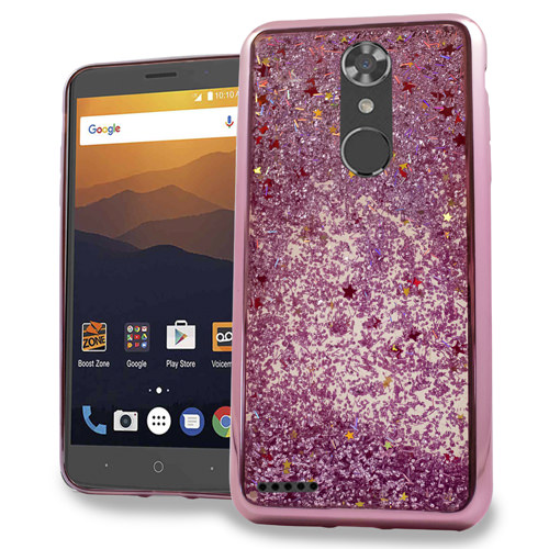 MUNDAZE Rose Gold Motion Glitter Chrome Case For ZTE Blade X Max / Max Blue Phone