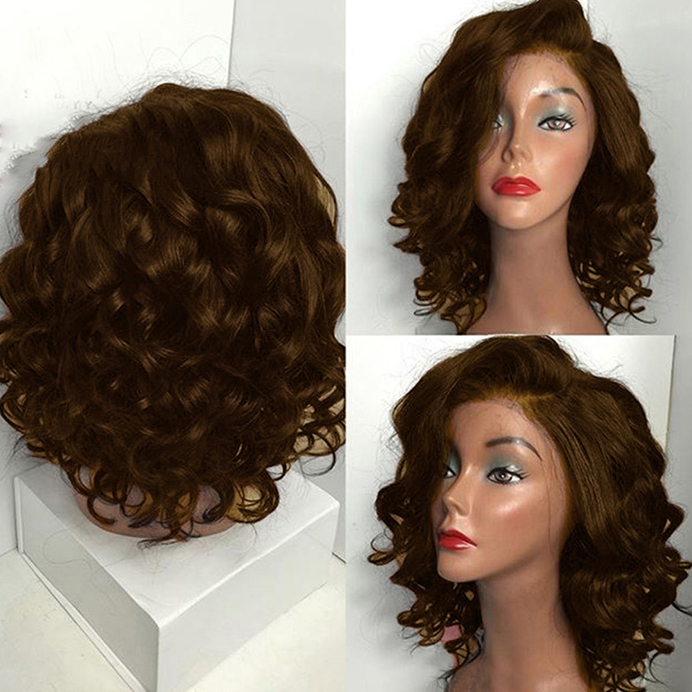 FBGood Womens Fluffy Brown Short Hair Wigs Rose Net Resistant Synthetic Hair Anti-Warping Short Curly Wavy Wig 48cm