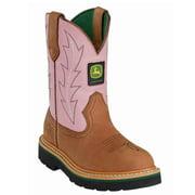 John Deere Children's Tan and Pink Western Boots JD2185