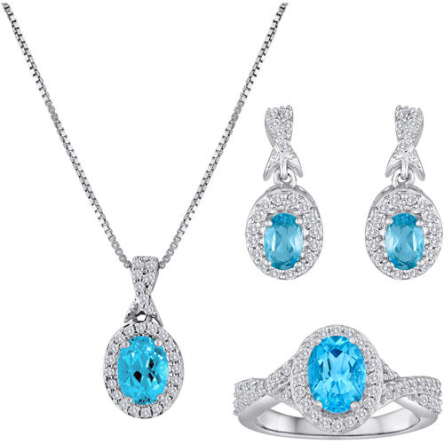 Blue Topaz and Cubic Zirconia Silver-Plated Boxed Set by Generic