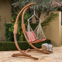 Gwen Outdoor Larch Wood Hammock Chair with Water Resistant Fabric Swing, Teak, Orange Red Brown Stripe