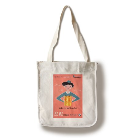 El Al Israel Airlines - (artist: Kor c. 1957) - Vintage Advertisement (100% Cotton Tote Bag - Reusable)