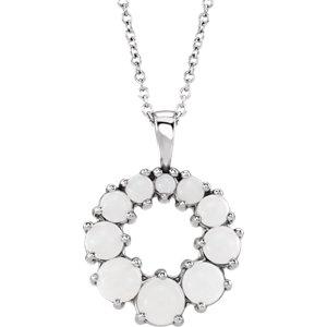 Platinum Opal Halo-Style Necklace by