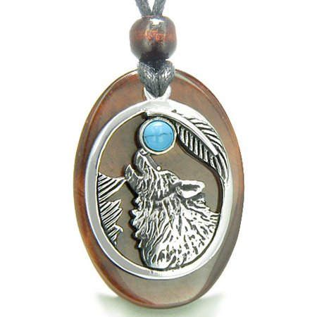 Amulet Courage Howling Wolf Moon Red Tiger Eye and Simulated Turquoise Pendant Necklace