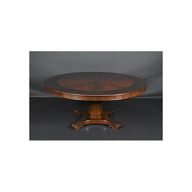 6Ft Round Flame Mahogany   Satinwood Crossbanded Pedestal Dining Table w  Scrolls by Three Dog Circus