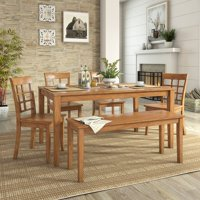 Lexington Large Dining Set with Bench and 4 Window Back Chairs, Multiple Finishes