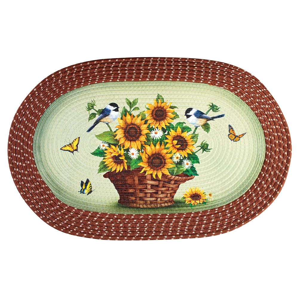Sunflowers and Chickadees Braided Oval Accent Rug by Collections Etc