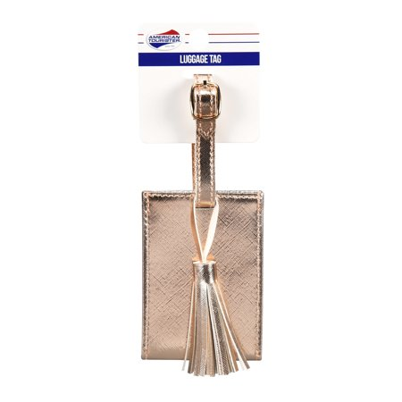 American Tourister Rose Gold Luggage Tag with Tassel