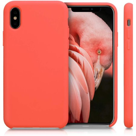 kwmobile TPU Silicone Case for Apple iPhone X - Soft Flexible Rubber Protective Cover - Living Coral